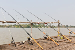 Fishing poles on pier