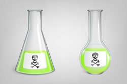 chemical green toxic liquid in lab spherical and conical beakers with jolly roger icon