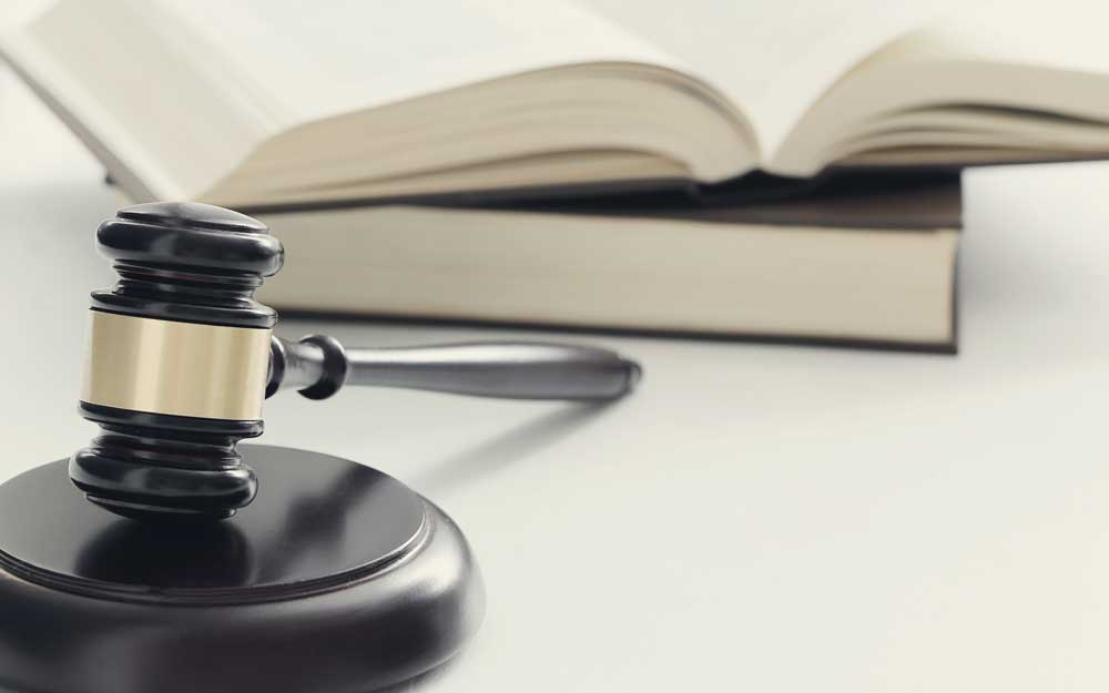 Court hammer and books. judgment and law concept